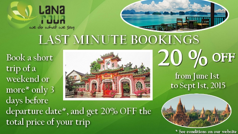 Summer Promotions 2015 : 20% OFF on last-minute bookings!